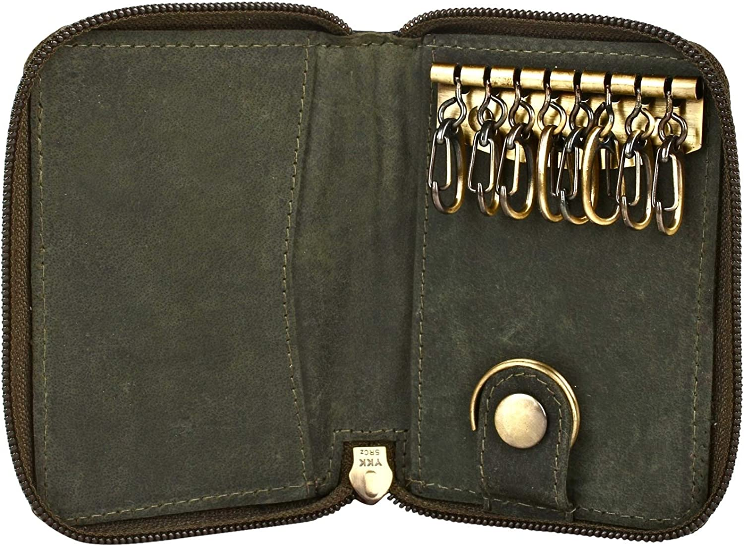 MEN/'S GENUINE LEATHER MENS KEY Chain Cash Coin Holder Case Wallet 7 Rings COLORS