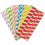 Colorful Stripes Paper Drinking Straws 19.7cm 150 Pack