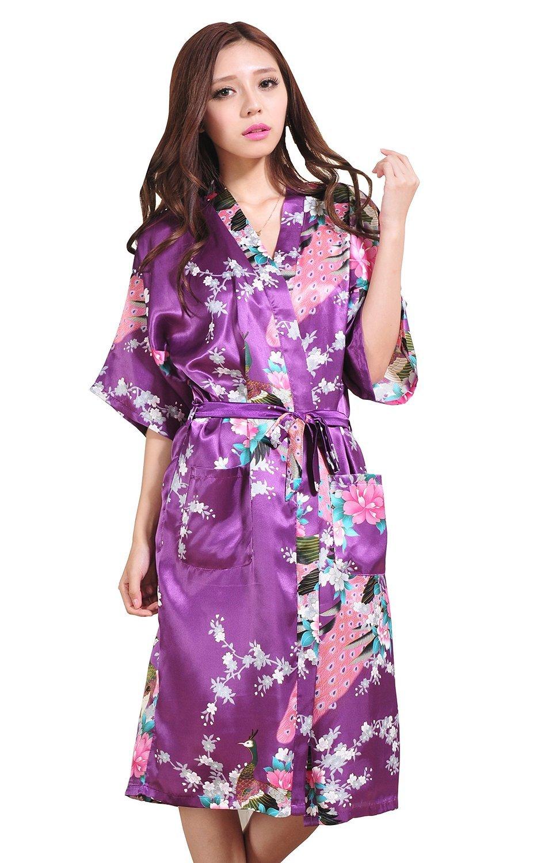 Losorn (TM) Women's Kimono Robe Silk Sleepwear - Peacock & Blossom (XXL, Purple)