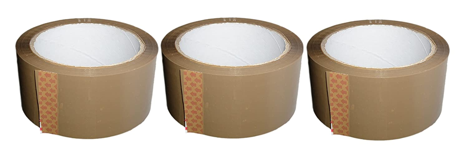 3 ROLLS - LARGE 50 METRE HEAVY DUTY BROWN PACKING TAPE - FREE DELIVERY HK