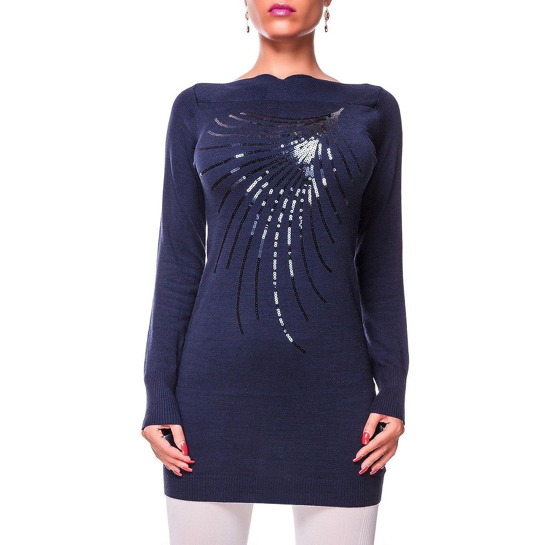 24brands CHICK REBELLE - Damen One Size Feinstrick-Longpulli / Strickkleid / Minikleid - 2293