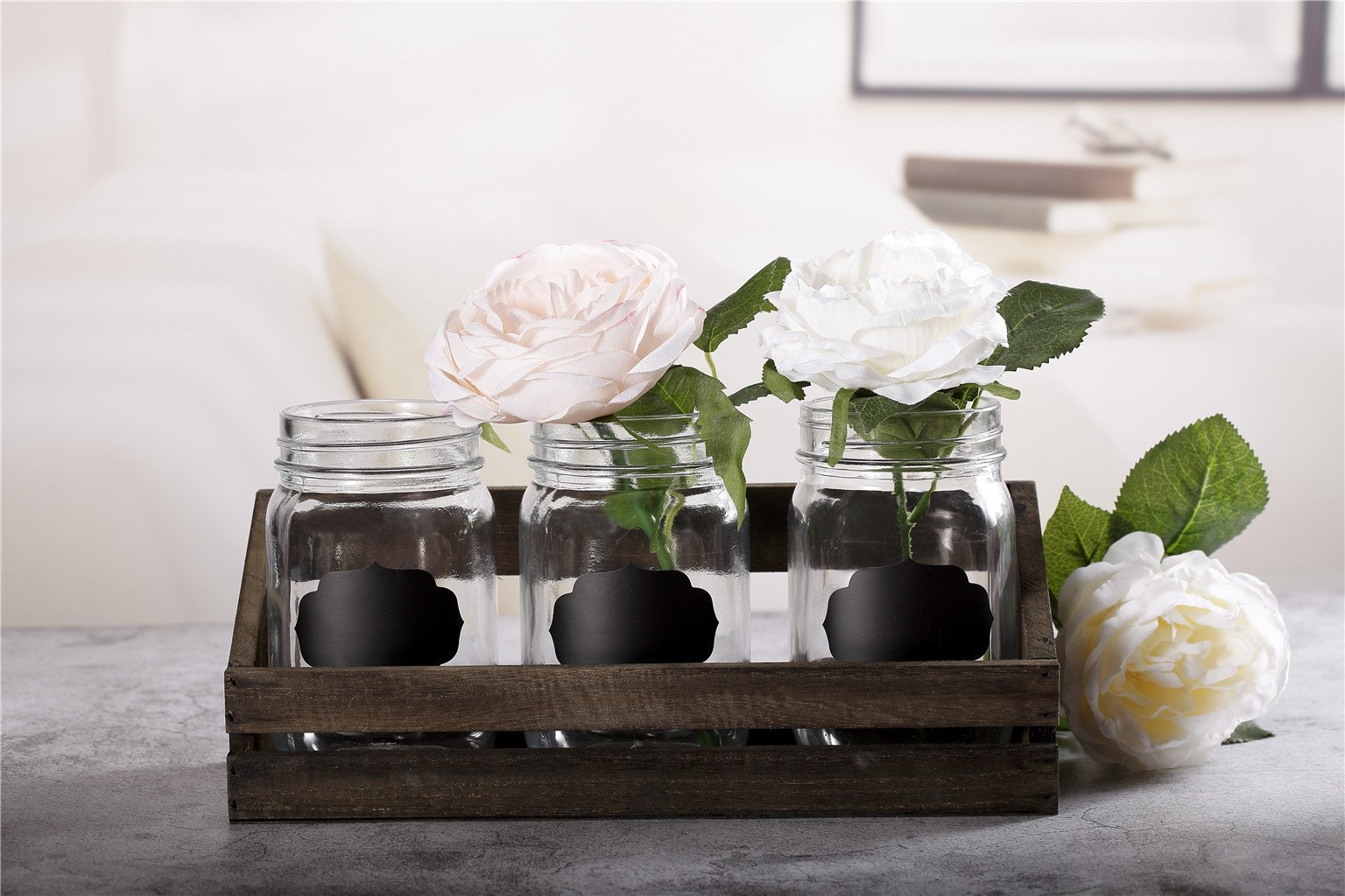 V-More Bud Vase with Chicken Wire Basket V-More Rustic Glass Mason Jar with Chalkboard Label and Wooden Tray 6.5-inch Tall For Home Decor Wedding Party Celebration by V-More Bud Vase with Chicken Wire Basket (Image #9)