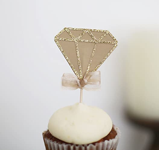 12 diamond cup cake toppers bachelorette party decorations bridal shower decorations wedding cupcake
