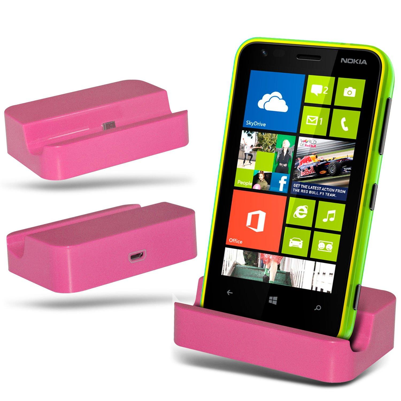 Aventus Nokia Lumia 620 Desktop Dock Micro Usb Charging Station Magenta Charger Stand Holder Light Pink Electronics