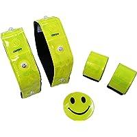 Ultrasport LED Sicherheits 5er Set: 2x LED Reflektorband, 2x Schnapp-Reflektorband, 1x Reflektor Smiley Aufkleber, ideal für Fahrrad, Rucksack etc.