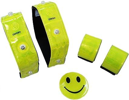 Ultrasport LED Sicherheits 5er Set: 2x LED Reflektorband, 2x Schnapp-Reflektorband, 1x Reflektor Smiley Aufkleber, ideal für