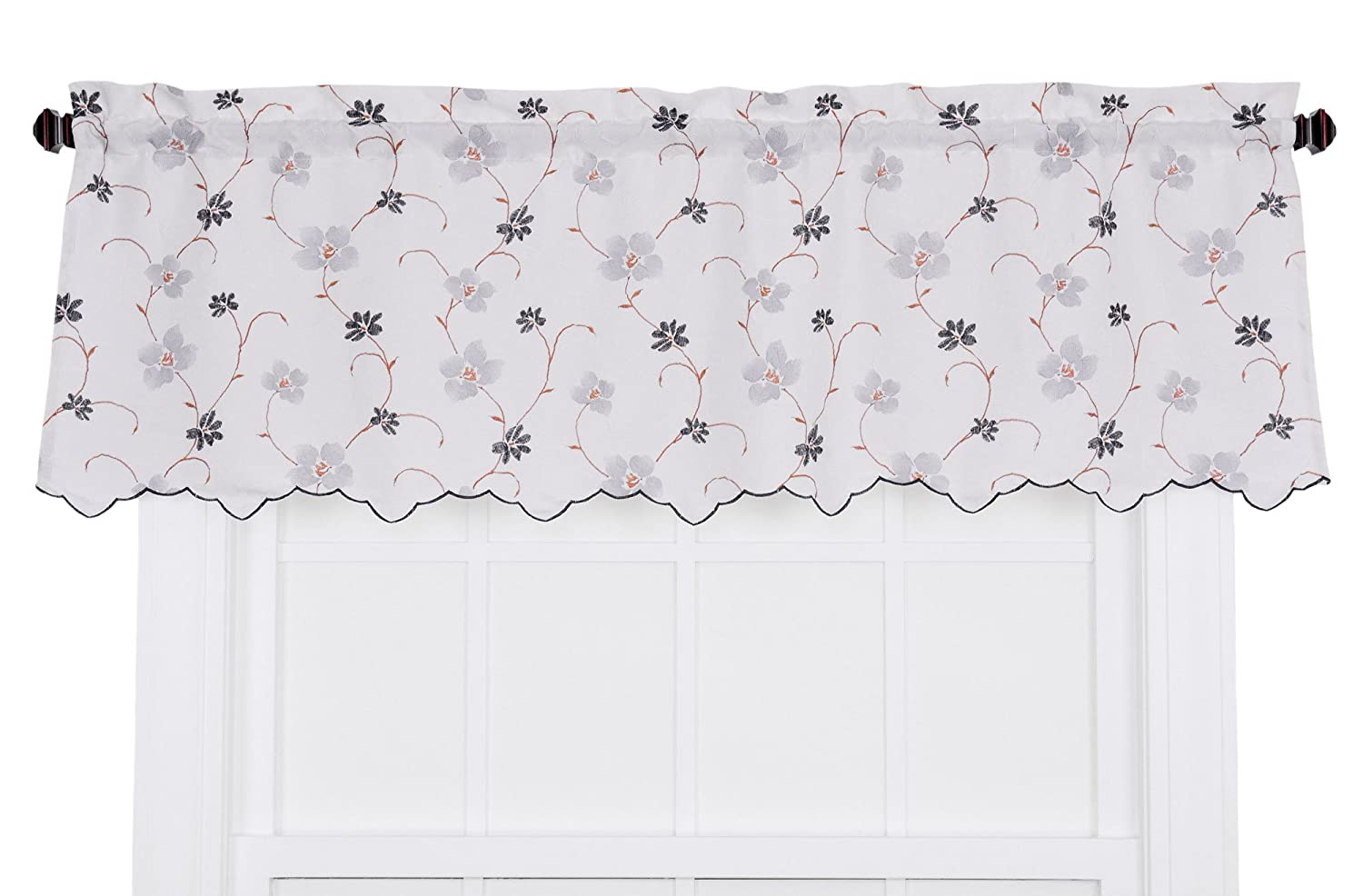 Ellis Curtain Zoe Crushed Taffeta Open Floral Print Curtain Panel, 48 by 63-Inch, Black 730462112644