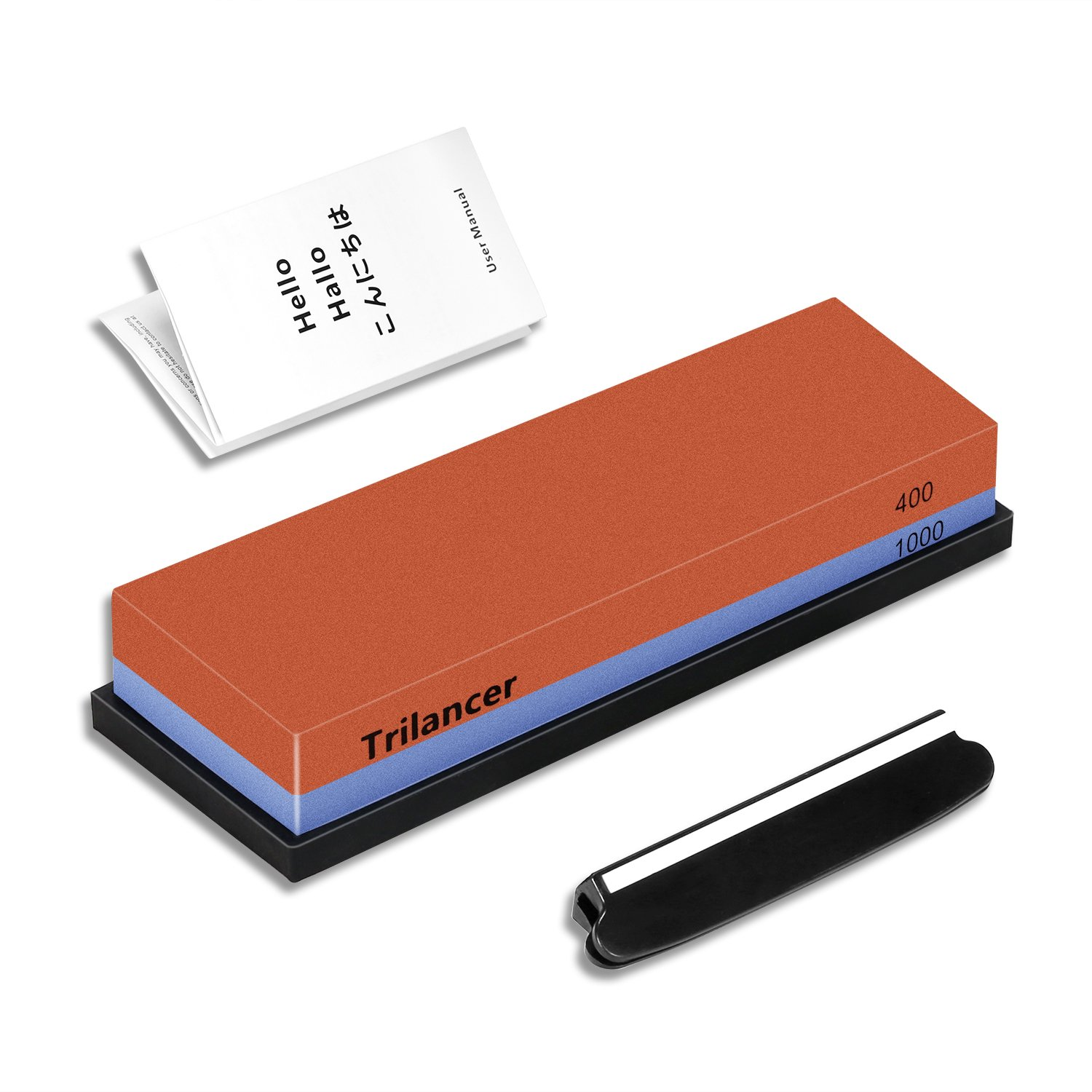 Whetstone Knife Sharpening Stone, 2-Sided 400/1000 Grit Knife Sharpener, Trilancer Japanese Style Waterstone Kit, Angle Guide and Rubber Base Included