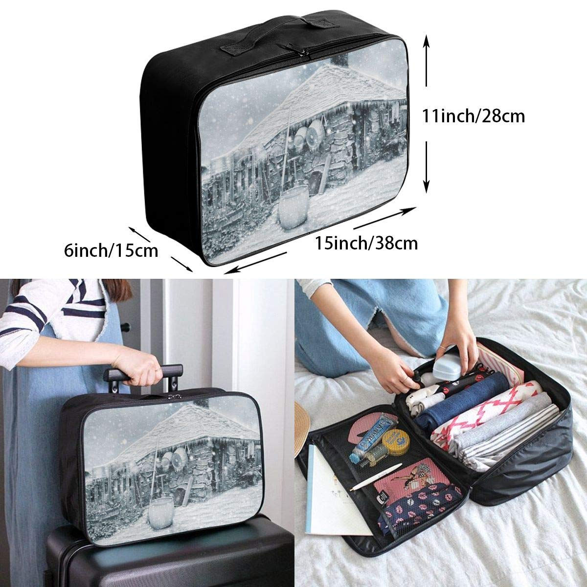 Winter House Snow Travel Lightweight Waterproof Foldable Storage Carry Luggage Large Capacity Portable Luggage Bag Duffel Bag