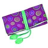 Jewelry Roll,Travel Jewelry Roll Bag,Silk Embroidery Brocade Jewelry Organizer Case with Tie Close,Purple Polka Dot