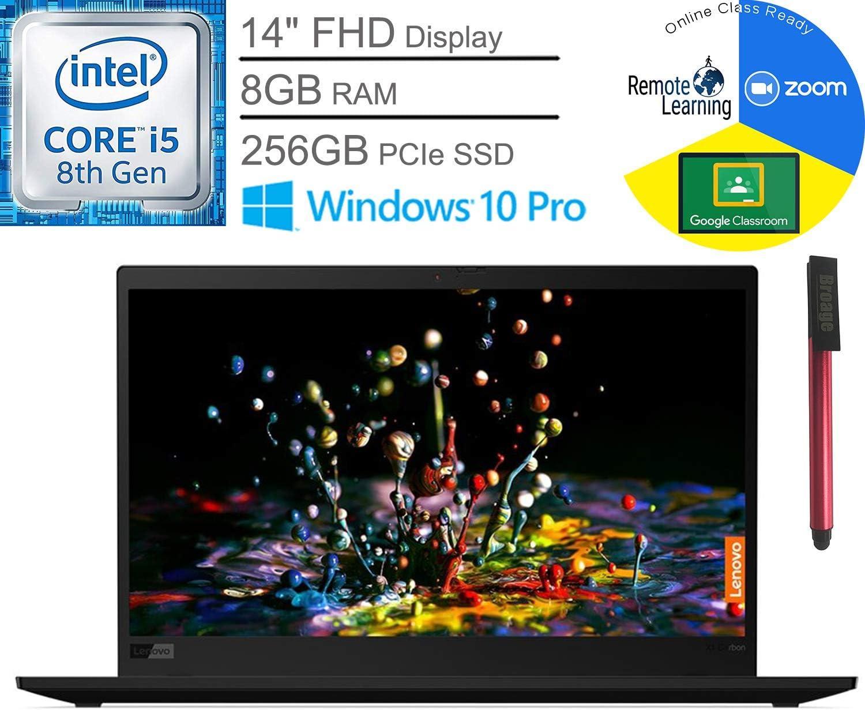 "Lenovo ThinkPad X1 Carbon Gen 7 14"" FHD Business Laptop Computer, Intel Quad-Core i5-8265U (Beat i7-7500U), 8GB RAM, 256GB PCIe SSD, Webcam, Windows 10 Pro, BROAGE 64GB Flash Drive, Online Class Ready"