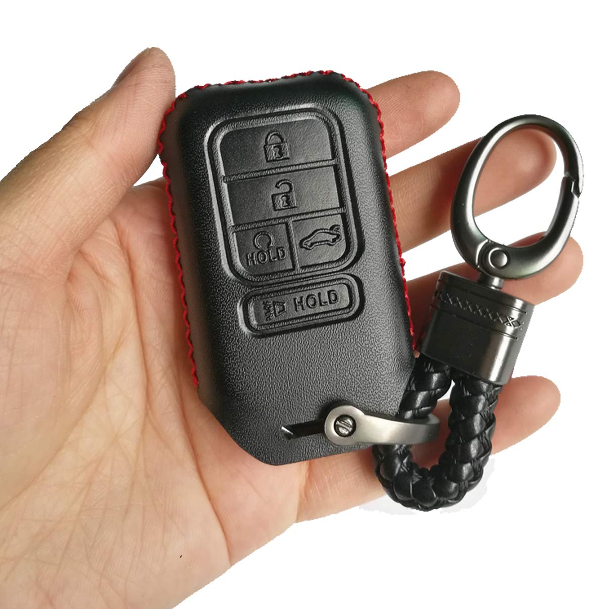 Red Hand Sewing Leather Key Cover Case Fob Bag Holder Fit For 2019 2018 2017 2016 2015 Honda Accord Civic Insight CR-V CRV Pilot EX EX-L Touring Premium A2C81642600 Alegender