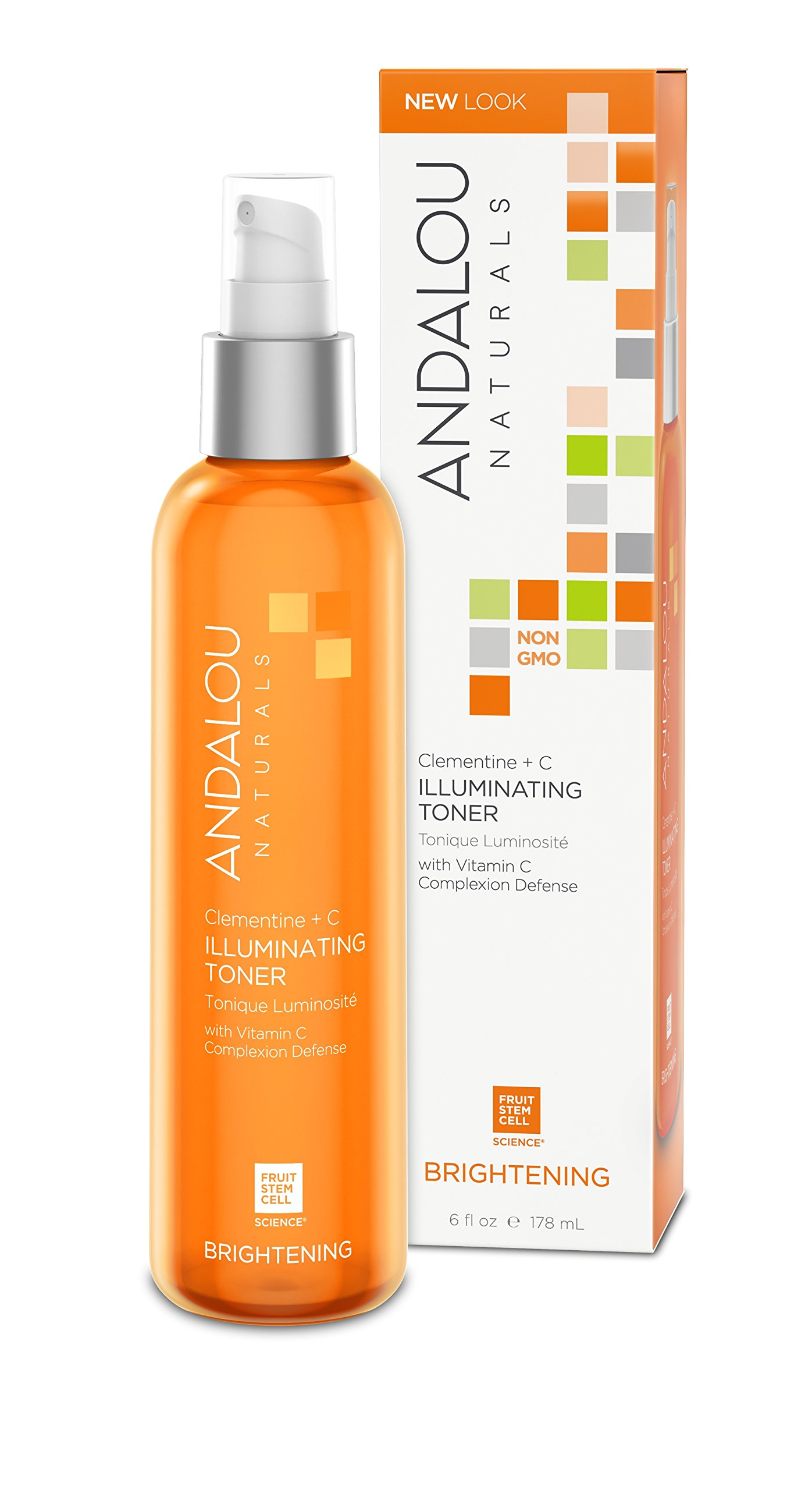 Andalou Naturals Clementine + C Illuminating Toner, 6 oz, Facial Toner Helps Hydrate & Balance Skin pH, For Clear, Bright Skin