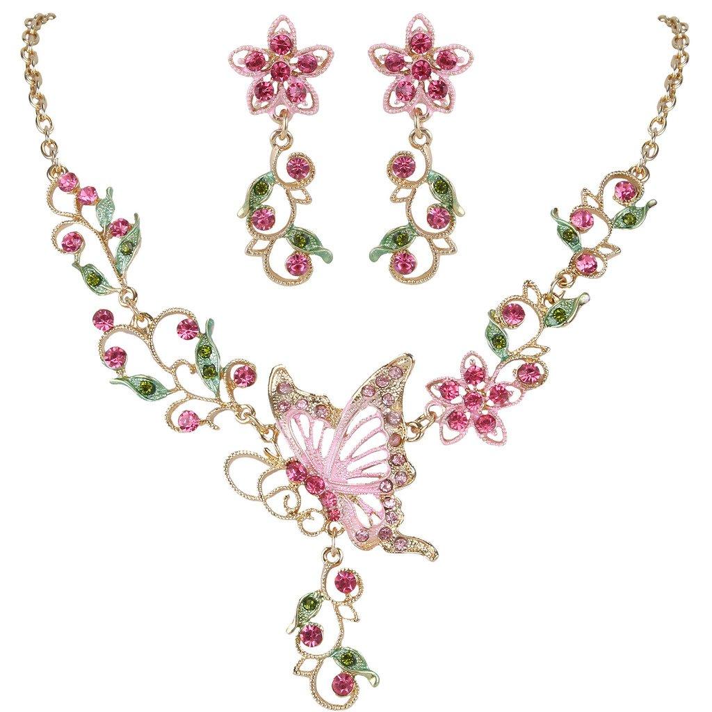 EleQueen Women's Austrian Crystal Butterfly Flower Leaf Necklace Earrings Set Gold-Tone Pink