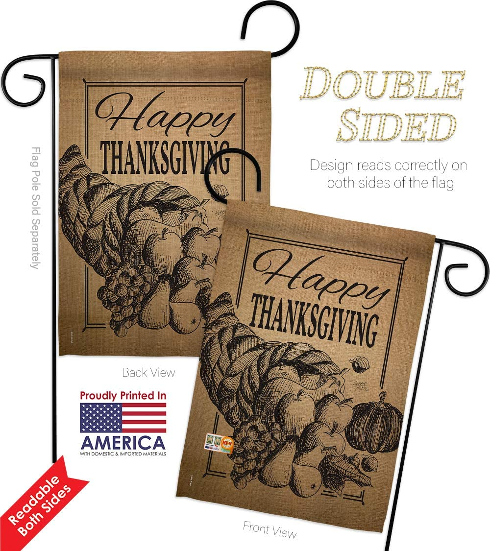 Thanksgiving Happy Cornucopia Garden Flags Pack Fall Turkey Give Thanks Gobble Pumpkin Season Autumntime Usa Vintage Applique Small Decorative Gift Yard House Banner Double Sided Us Made 13 X 18 5