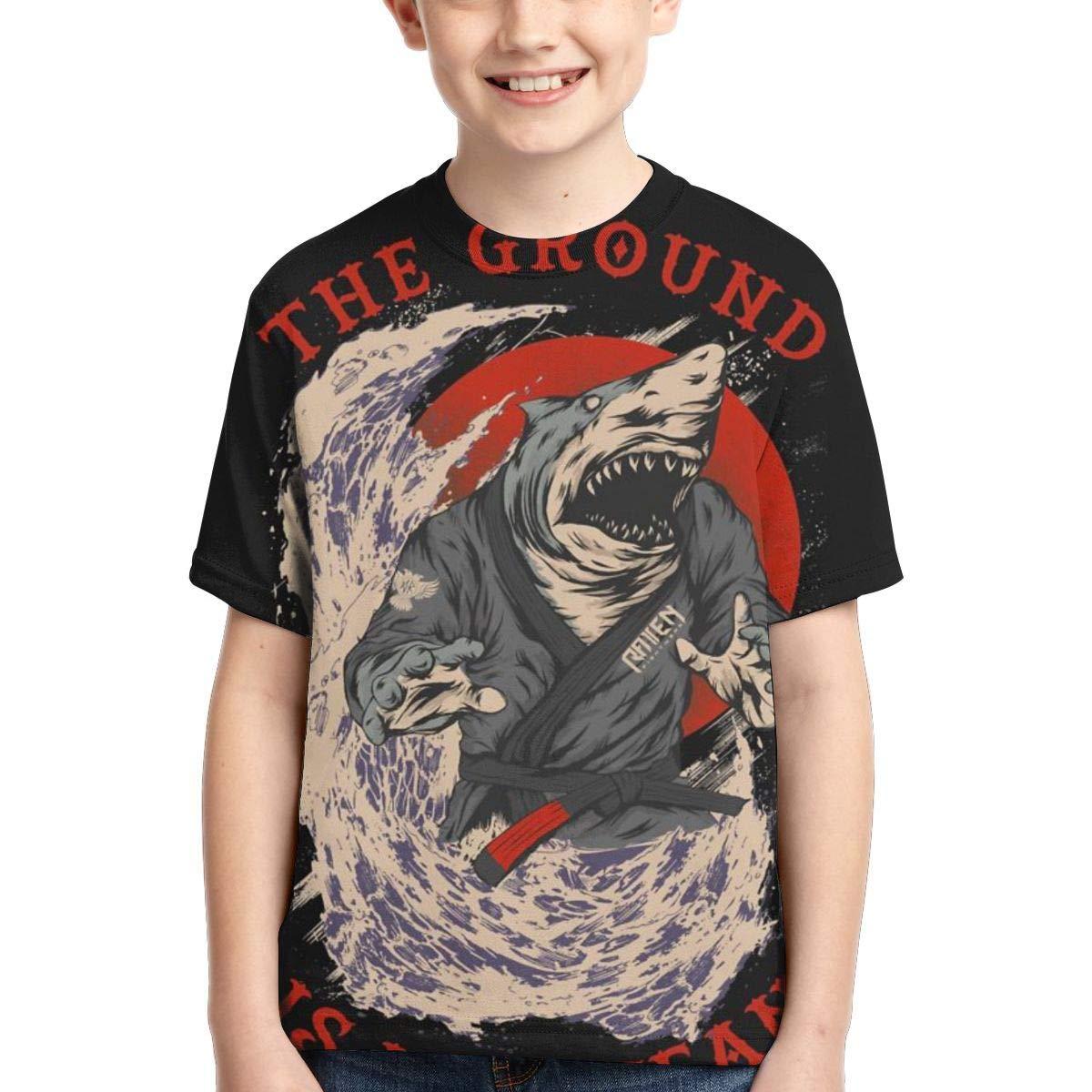 Boys Short Sleeve Samurai Shark The Ground is My Ocean 3D Printed T Shirt for Kids Cool Casual Top