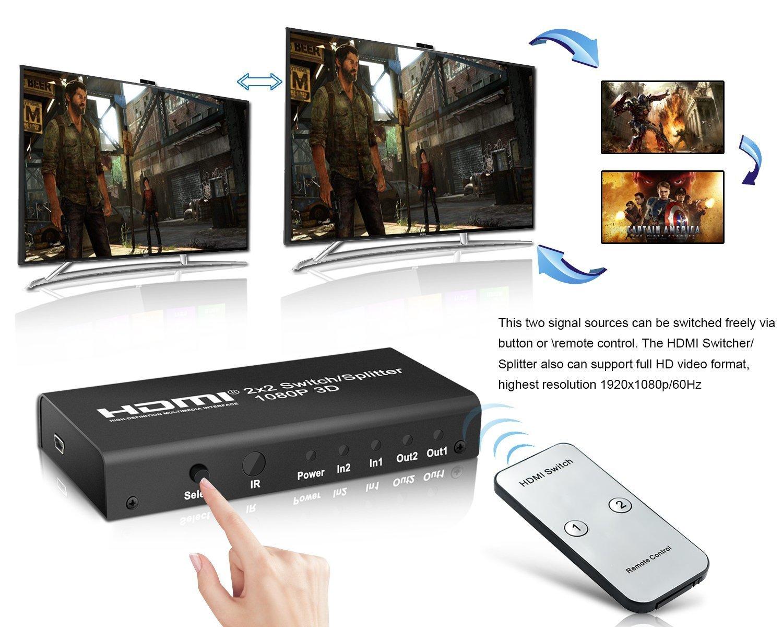 2 x 2 HDMI Splitter/Switcher for Apple TV Computer PS3/PS4 Macbook ...