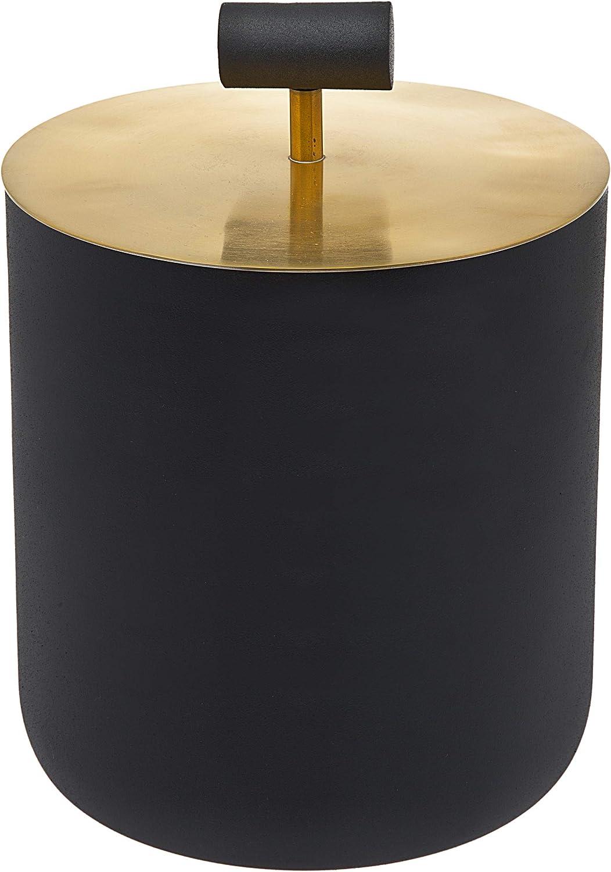 Wine Cooler Ice Bucket with Lid Beverage Chiller Barware Black and Gold - Godinger