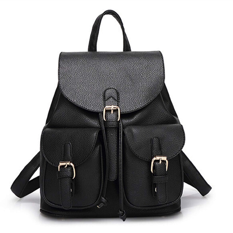Amazon.com | Women Leather Backpack Black Bolsas Mochila ...