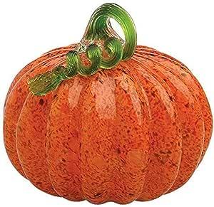Boston International 6 1/4-Inch x 7-Inch Medium Gallery Glass Pumpkin Collectible Figurine, Orange with Green Stem