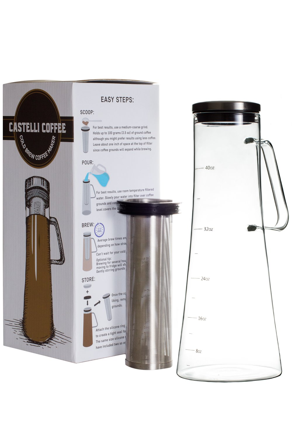 Airtight Cold Brew Coffee Maker – Glass Iced Coffee Brewer – Large Tea Brewing Pitcher – 1.2L 40 oz Carafe with Seal and Stainless Steel Filter
