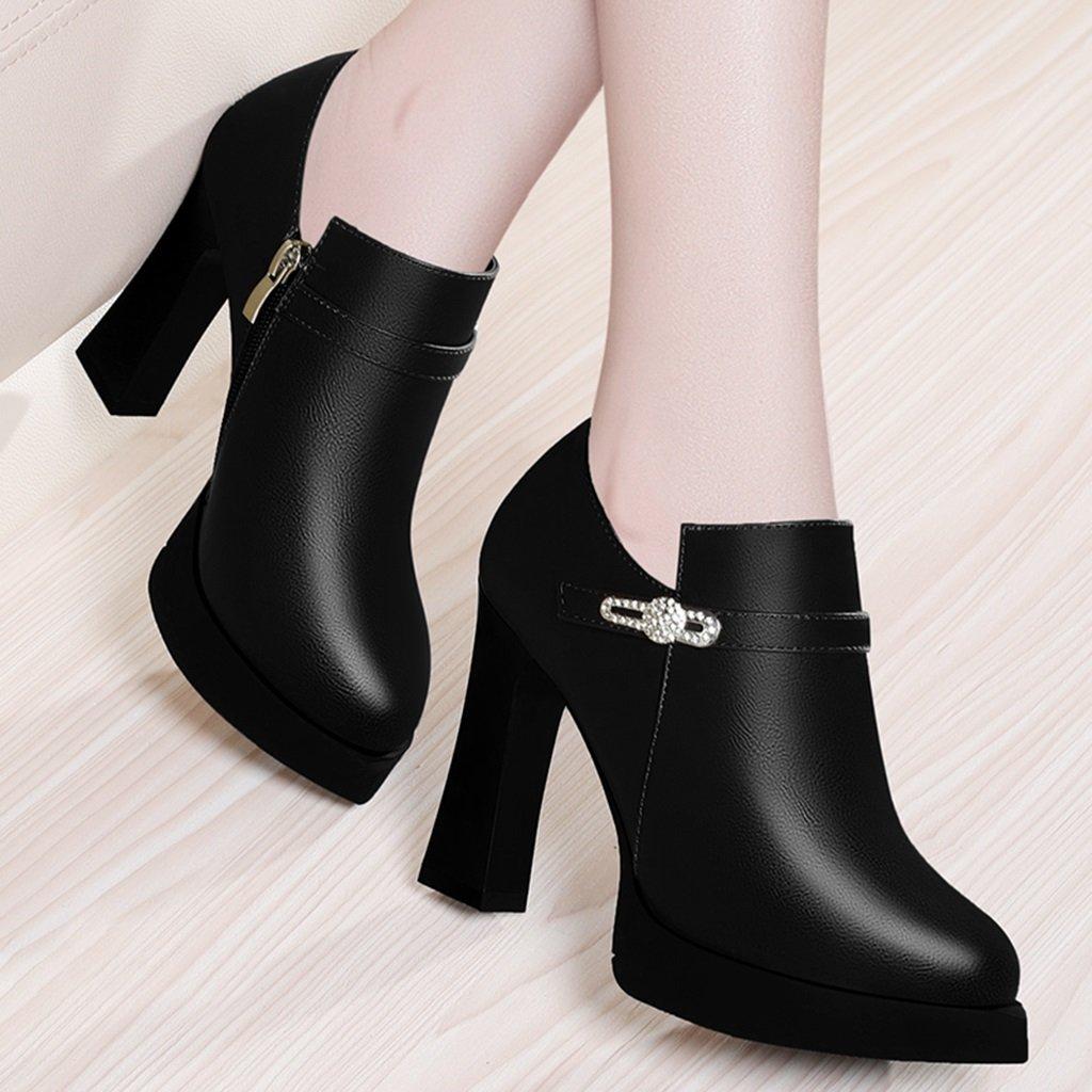 Damenschuhe HWF Spring Single Ms Schuhe High Heels Ms Single Lederschuhe Schwarz (Farbe : Schwarz, größe : 36)  Schwarz c140df