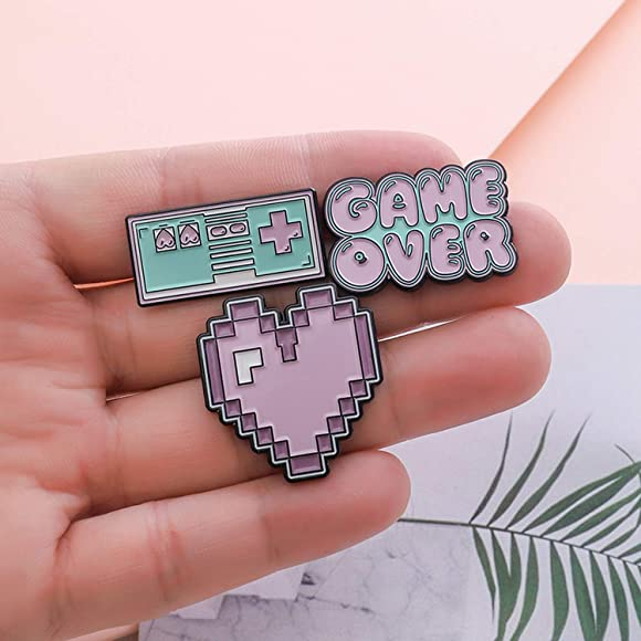Enjoyourself Art Enamel Pins Games Lapel Pins Game Over Brooches Retro Game Badges Heart Pins