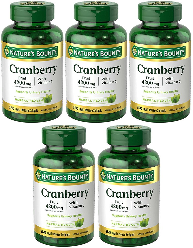 Cranberry with VIT C 4200 mg, 250 Softgels (5 Bottles)