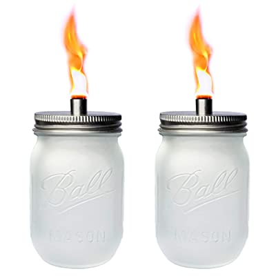 2 Pack Frosted Glass Mason Jar Tabletop Torch, Outdoor Oil Lamp Torches for Patio Garden Party Wedding Decor Torch Lights : Garden & Outdoor