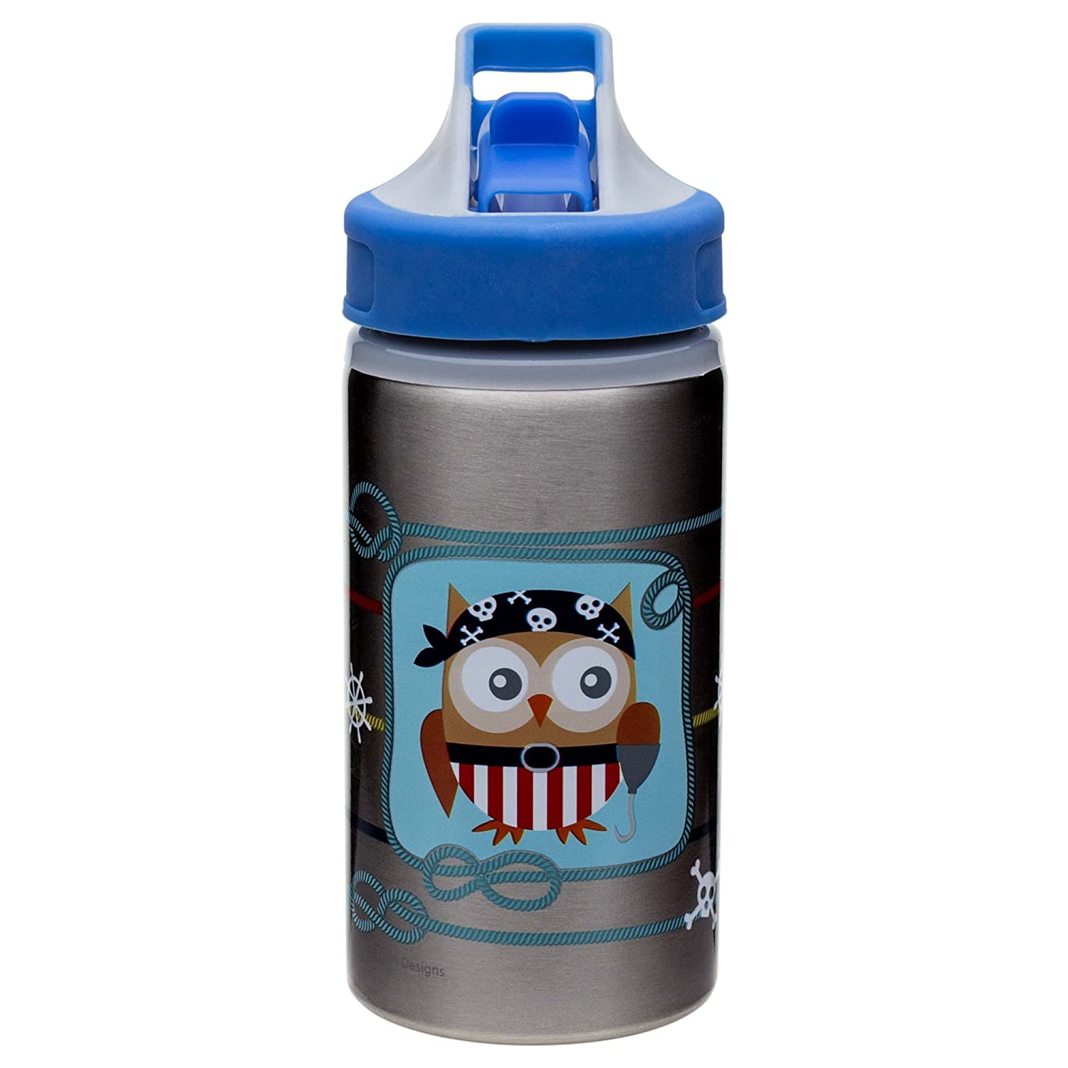 Designs Toddlerific Stainless Steel Sports Water Bottle with Pirate Owl Graphics Leak-proof Break-resistant and BPA- Free Zak Designs 6714-R771 Flip-up Spout Zak 15.5 oz
