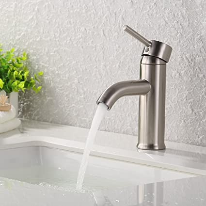 KES Modern Bathroom Sink Faucet Brushed Nickel Single Handle Wash ...
