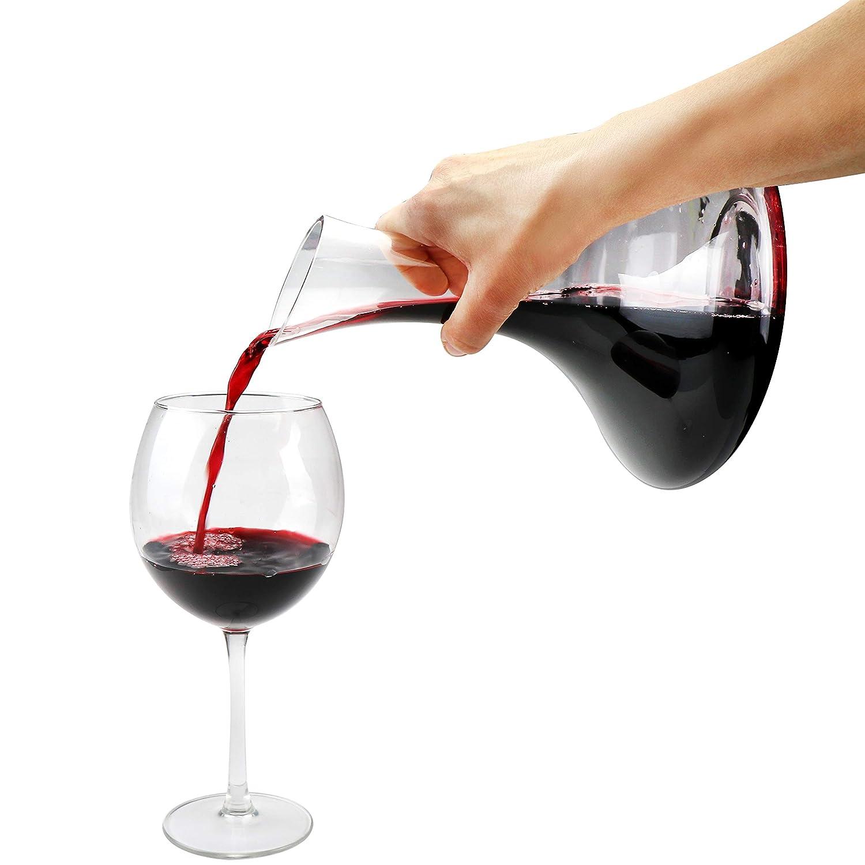 COM-FOUR/® Decanter per vino caraffa formosa in vetro per vino rosso 01 pezzi - decanter