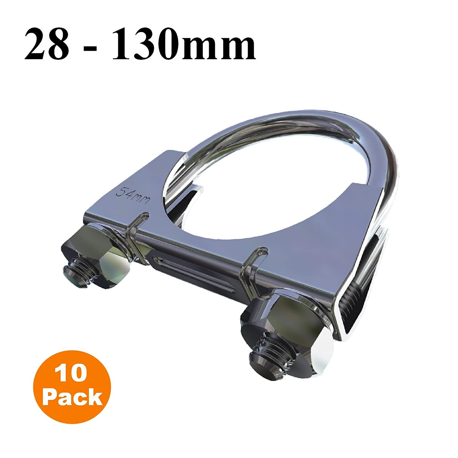 130mm 10 x Universal U Bolt Clamps//Heavy Duty Exhaust Clamp//TV Sky Aerial Pipe