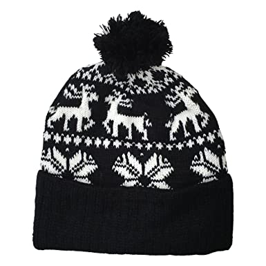 Women's Thick Knitted Winter Christmas Hat Beanie - In Black ...