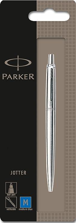 Parker 1870803 Jotter Kugelschreiber (edelstahl mit Chromeinfassung, blaue Tinte, Blisterpackung)