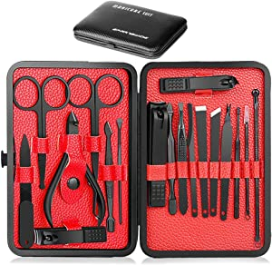 Epartswide Manicure Set,18pcs Stainless Steel Manicure Pedicure Set,Pedicure Kit Nail Clippers for Men Professional Manicure Kit - Nail Scissors Ear Pick Grooming Kits with Portable Travel Case