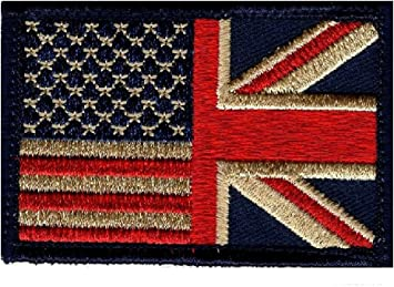 UK Flag Subdued British Usa Flag hook fastener Patch MTB1 Usa