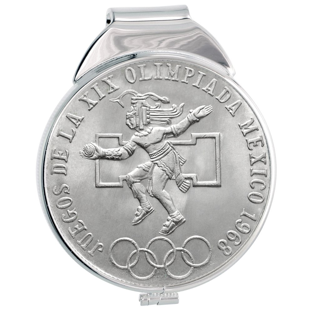 Sterling Silver Mexican 25 Pesos Money Clip Spring Back with 1968 Mexico Olympics Coin
