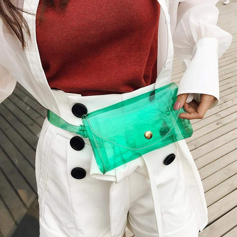 Cintur/ón Fanny Packs Bolsos de Cintura Bolsos de Pecho de Jalea Transparente de Las Mujeres JUNERAIN Bolso de Cintura de Las Mujeres Verde
