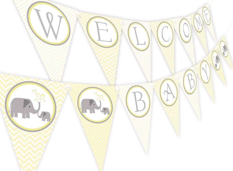 Little Elephant Yellow Baby Shower Banner Pennant