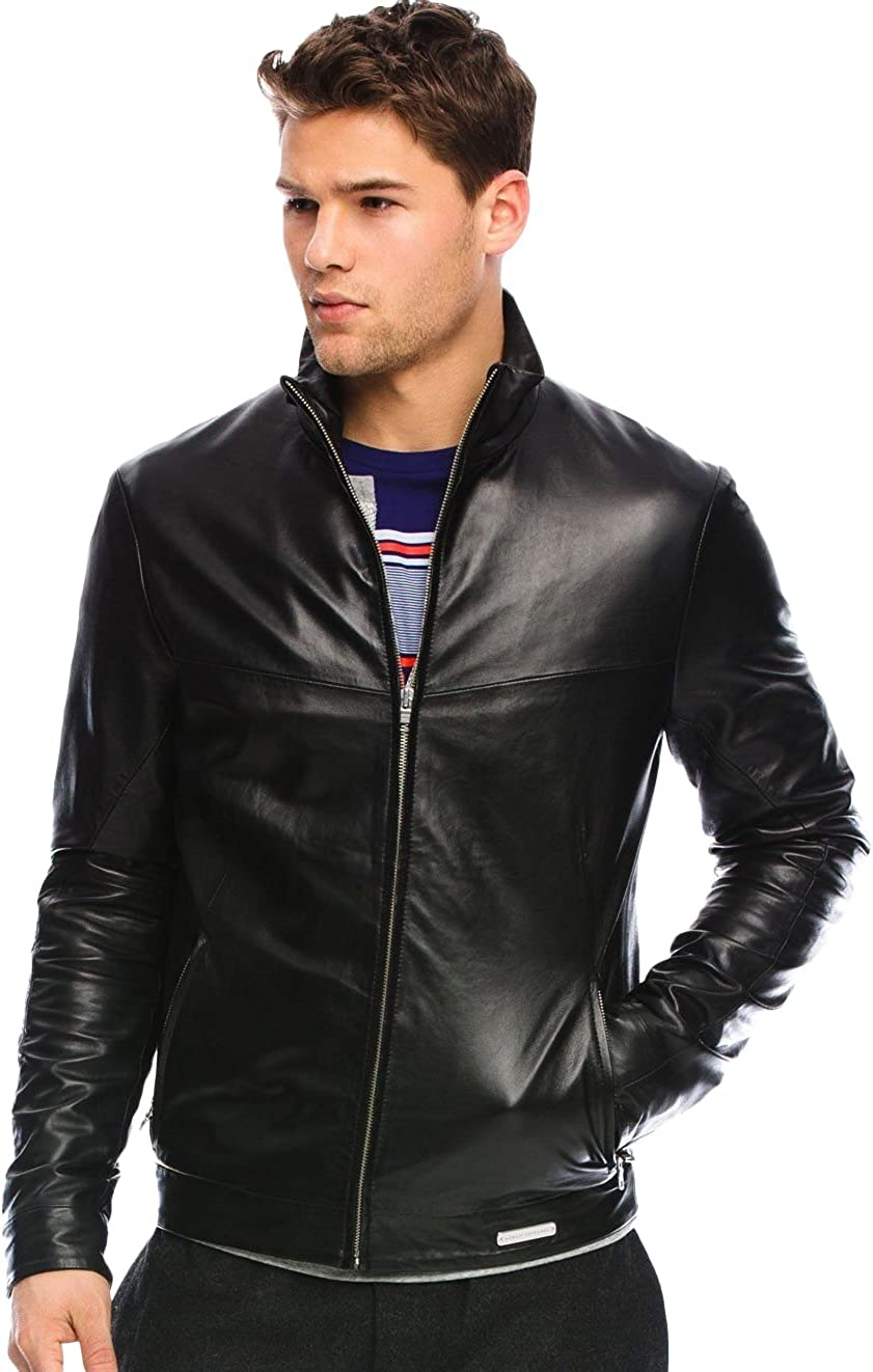 Kingdom Leather Mens Leather Jacket Slim Fit Biker Motorcycle Genuine Lambskin Jacket Coat X1477