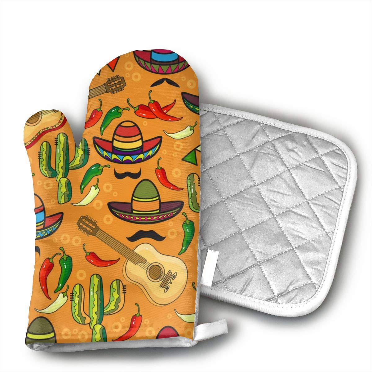 Sjiwqoj8 Sombrero Guitar Pepper Kitchen Oven Mitts,Oven Mitts and Pot Holders,Heat Resistant with Quilted Cotton Lining,Cooking,Baking,Grilling,Barbecue