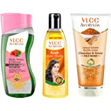 VLCC Ayurveda Silky Shine Shampoo, Hair oil and Kesar Chandan Face Wash Combo