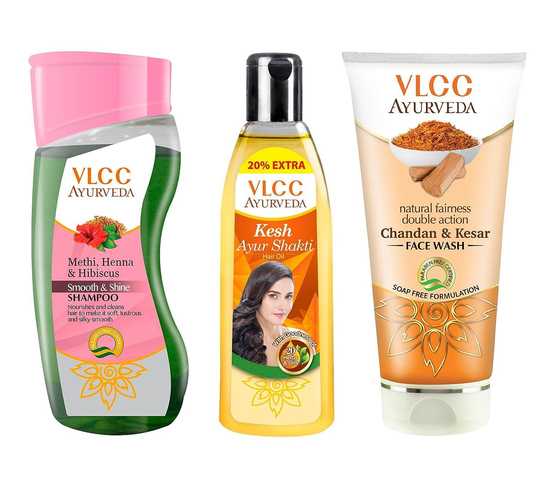 VLCC Ayurveda Silky Shine Shampoo, Hair oil and Kesar Chandan Face Wash Combo