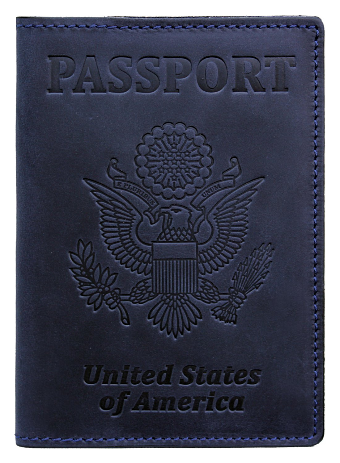 RFID Blocking US Passport Holder Cover Travel Wallet Organizer Case With Card Slots (Navy Blue)
