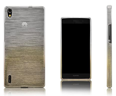 Xcessor Transition de Color Funda Carcasa Para Huawei Ascend P7. Flexible TPU Gel Con Gradient Hilo De Seda Textura. Transparente / Oro
