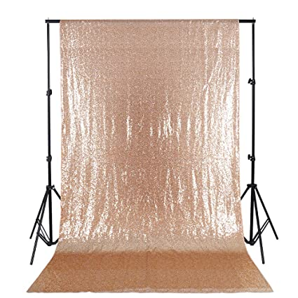 B COOL 4ftX65ft Backdrop Curtain Rose Gold Sequin Baby Shower Drapes