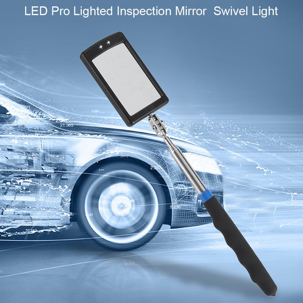 Asixx Telescoping LED Lighted Flexible Adjustable Inspection Mirror 360 Degree Swivel Extend Tool Especially Useful for Dark and Hard-to-See Places Inspection Mirror Telescoping