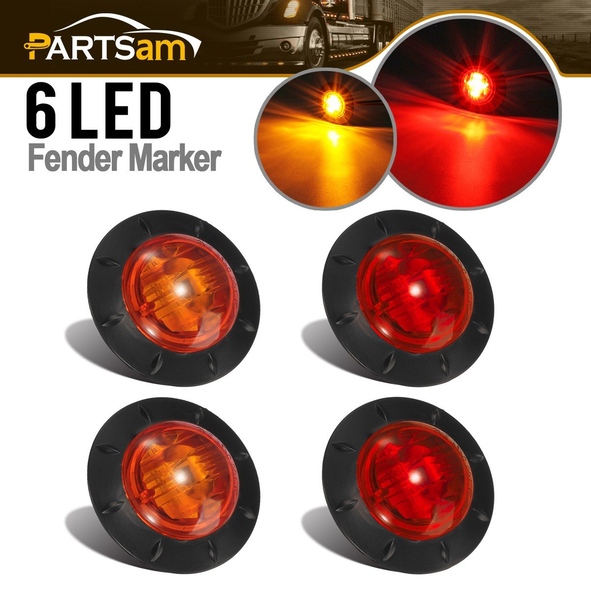 Partsam 1-5/16 Inch Grommet Mount Red Trailer LED Clearance Markers Lights Sidelight 6-2835SMD, Universal Sealed Led Marker Lights Lamps RV Truck Jeep SUV (2Amber+2Red)