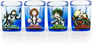 JUST FUNKY My Hero Academia Set of 4 Heros 2 oz Square Shot Glasses, from The Anime Series